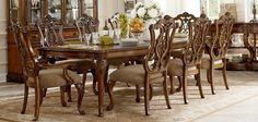 Pemberleigh Leg Dining Set with Pierced Chair - Brandy/Burnished Edges Formal Dining Set, Dinning Set, Dining Room Sets, Dining Room Table, Dining Chairs, Bedroom Furniture Sets, Dining Room Furniture, Tuscan Decorating, Traditional Design