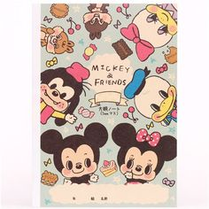 pink-blue Mickey and friends notebook exercise book Japan