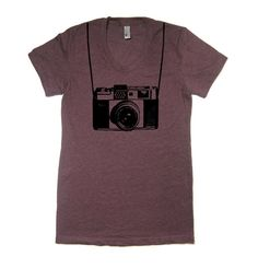 Women's Vintage Camera T Shirt HEATHER PLUM American by lastearth, $18.00