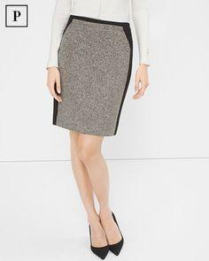 White House | Black Market Petite Tweed-Panel Pencil Skirt
