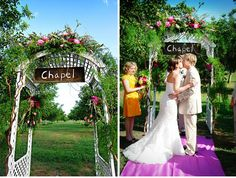 "love the ""chapel"" sign - ceremony backdrop ideas"