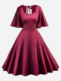 Shop Butterfly Sleeve Knot Back Dress online. SHEIN offers Butterfly Sleeve Knot Back Dress & more to fit your fashionable needs. Cheap Dresses, Elegant Dresses, Nice Dresses, Summer Dresses, Awesome Dresses, Summer Clothes, Maxi Dresses, Women's Dresses, Red Midi Dress