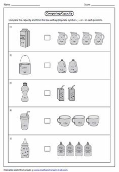 Printable measuring capacity worksheets contain estimating capacity of real life objects, reading graduated cylinder, measuring jug and Capacity Worksheets, Measurement Worksheets, Sequencing Worksheets, Printable Math Worksheets, Science Worksheets, Worksheets For Kids, 1st Grade Reading Worksheets, Reading Comprehension Worksheets, Kindergarten Worksheets