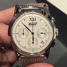 Tissot Heritage 1948 Chronograph #baselworld2017 39.5 mm steel case, calibre ETA 2894-2, mesh bracelet or leather strap 💰USD 1,450/1,400 #tissot #tissotheritage #chronograph #relogioserelogios #affordablewatches