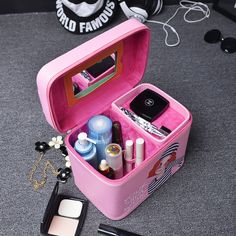 Fashion Women Makeup Case Bag Travel Beauty Box Portable Make Up Organizer With Mirror Pouch Case Professional Cosmetic Storage