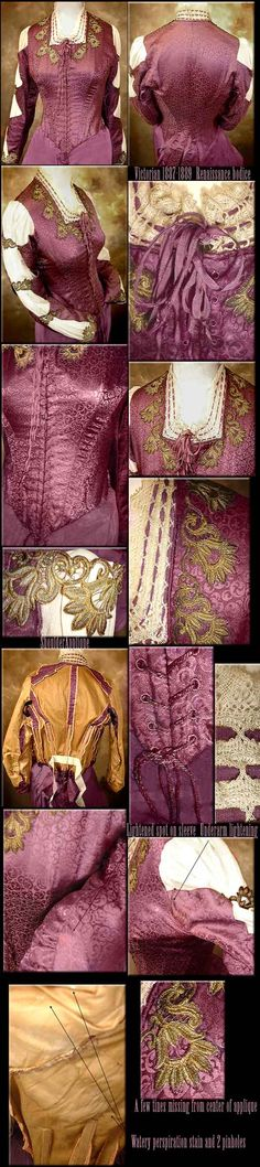 Bustle corset 1887-1889 Victorian PLUM with metallic appliques.  Custom made for a spring dinner event.  Original Victorian.