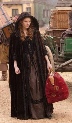 Silk striped skirt with a cut silk velvet bodice. Cut velvet boucle cape in brown with black lace trim throughout -Joseph Porro Costume Period Costumes, Movie Costumes, Tamzin Merchant, Medieval Cloak, Renaissance, Gypsy Witch, Vintage Outfits, Vintage Fashion, Medieval Fashion