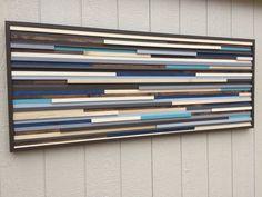 Pared - pared de madera arte - recuperada escultura de madera arte - moderno arte abstractos pintura sobre madera 60 x 24
