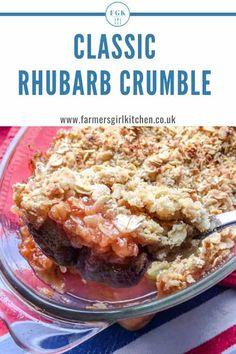 Classic Rhubarb Crumble Oats Recipes, Healthy Dessert Recipes, Easy Desserts, Sweet Recipes, Baking Recipes, Baking Ideas, Recipies, Vegan Recipes, Girlfriends