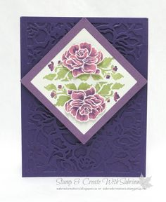 handmade card from Stamp & Create With Sabrina ... Floral Phrases suite ... luv the deep purple background with tone on tone layering of the lacy die cut ... multi-hue coloring of the stamp before stamping ... lovely card ... Stampin' Up!