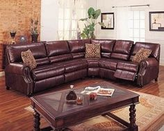leather sectional sleeper sofa with recliners | Brown Leather Sectional Sofa Couch Recliner Full Sleeper Bed | review ...
