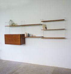 TEAK Wall unit | danish modern interior | string system | nisse strinning | vintage 60s | yourhomeplus.de