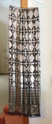 "Vintage 1920s Black Metal Embellished Shawl Egyptian Art Deco ~ Large 90"" x 45"" | eBay"