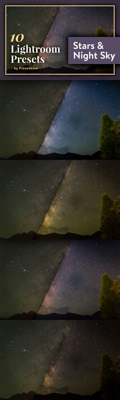 10 Lightroom presets for Night Sky Photos (Astrophotography / Night / Galaxy / Stars / Dark / Sky / Skies / Meteor / Moon / Cosmos / Outdoors / Nebula / Space / Milky Way / Photography)
