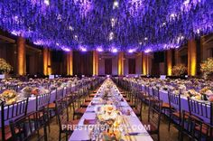 Preston Bailey Event Ideas, Preston Bailey, Ideas for Events, Inspiration for Event Design, Purple Flowers, Purple Dripping Flowered Ceiling...
