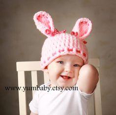Baby Hats Bunny Hat Pink Bunny Hat Baby Girl Cap Newborn Clothes Christmas Gift Photo Prop Toddler Hat Crochet Baby Hat from YumbabY. Pink Bunny Ears Hat, Bunny Hat, Pink Hat, Crochet Rabbit, Crochet Baby Hats, Newborn Outfits, Kids Outfits, Baby Girl Caps, Diy Hat Rack