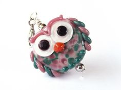 Lampwork owl Glass Jewelry, Glass Beads, Jewelry Necklaces, Beadwork, Beading, My Glass, Lampwork Beads, Etsy, Crystals