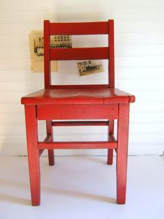 Vintage Red Chair Kids Chair Wood Rolling by RollingHillsVintage, $45.00