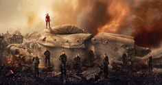 Snow Falls in 'Hunger Games: Mockingjay Part 2' Poster -- Katniss Everdeen stands atop a fallen statue of President Snow in the latest sneak peek at 'Mockingjay 2'. -- http://movieweb.com/hunger-games-mockingjay-part-2-poster-snow/