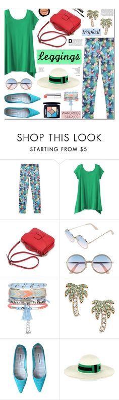 """""""Wardrobe Staples: Leggings (Tropical)"""" by anyasdesigns ❤ liked on Polyvore featuring TravelSmith, Sunday Somewhere, New Look, Kate Spade, Manolo Blahnik, Tomas Maier and Christian Dior"""