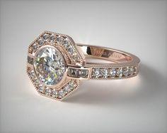 14K Rose Gold Art Deco Inspired Octagonal Halo Engagement Ring