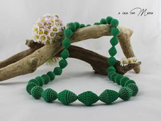 Collana lunga con perle di carta long necklace verde pearl