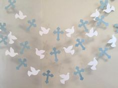 Christening Cross and DOVE Garland - Baptism decorations - First Communion Garland - RELIGIOUS Baby Dedication Decor - Your Color choice Baptism Party Decorations, Backdrop Decorations, Heart Decorations, Backdrops, Christening Banner, Boy Baptism, Christening Gown, Première Communion, First Holy Communion
