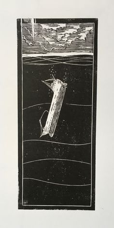 Linoprint - Sinking Ship - Draw Cut Ink Press