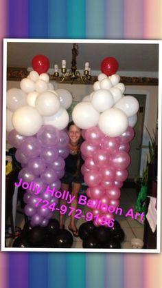 Ice cream sundae balloon columns by Jolly Holly of the Pittsburgh area. #ice cream #sundae #balloon #column #decor #decoration