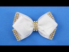 Passo a passo: Laço de fita de cetim decorado com manta de strass/ Diy satin ribbon - YouTube