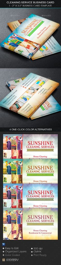 Cleaning Service Business Card Template #industrial #industry #maid • Available here → http://graphicriver.net/item/cleaning-service-business-card-template/11260252?s_rank=1667&ref=pxcr