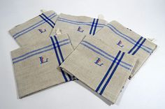 5 Vintage French Kitchen Towels or Torchons with Blue Stripes