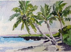 Aceo Vosberg Hawaii Island Beach With Palm Trees Miniature Watercolor