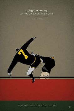 great moments in football history series illustration kungfu kick manchester united eric cantona selhurst park