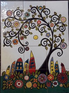Cuerda seca Pottery Painting, Dot Painting, Ceramic Painting, Ceramic Art, Handmade Tiles, Handmade Pottery, Sharpie Art, Art N Craft, Decorative Tile