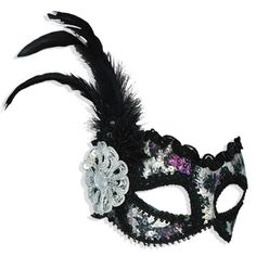 Silver and Purple Sequin Mask