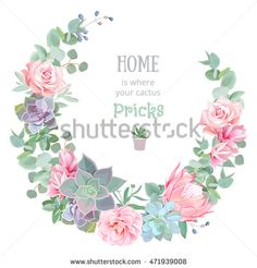 Stylish floral vector design round frame. Rose, camellia, pink flowers, echeveria, protea, eucalyptus leaves. Natural cactus card in modern funky style. All elements are isolated and editable.