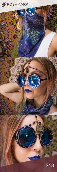 Oversized Round Geometric Ornate Burner Sunnies 👽 RESTOCKED --Beautiful brand NWT in packaging black oversized round sunglasses with ornate silver geometric detailing and blue reflective uv400 lenses. Frames are plastic with metal detail. Absolutely perfect for burning man!! I wish I was going this year so I could rock these babies--so swoop them up for me to look BOMB AF at whatever festivals you're going to this summer 🌞🌈💕☺️ Last photo shows all color options ☺️not Unif just tagged for…