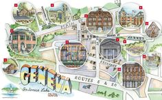 If you are curious about Geneva, here's a beautiful watercolored map, produced by an alum of HWS, Elva Ye.