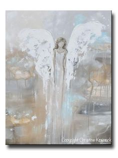 "Angel Art Painting ""With Courage in Her Heart"" Fine art, abstract, guardian angel painting depicting stunning angel gently watching over & guiding. Stunning, contemporary, abstract, guardian angel painting canvas print. This modern, spiritual art piece soothing, pale, natural colors, grey, white, beige, pale blue & unique painting effect, it also contains a stylish, elegant feel, perfect for any home decor room design. Artist, Christine Krainock"