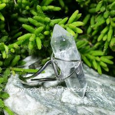 Clear Quartz Double Terminated Adjustable Ring