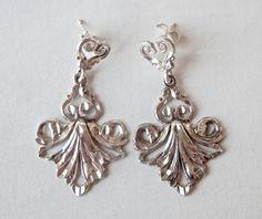 Silver Bridal Earrings Chandelier Earrings Art Nouveau Revival Vintage Chandeliers Wedding Jewelry Sterling Silver Earrings Vintage Jewelry by TheJewelryChain on Etsy