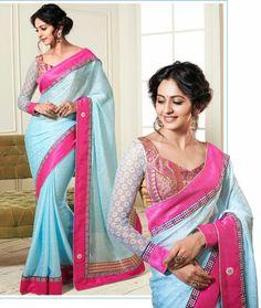 USD 73.4 Rakul Preet Singh Blue Bollywood Jacquard Saree   35920