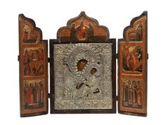 Das Triptychon mit aufklappbaren Flügen, diese bemalt in drei Registern mit Szenen aus dem Leben Christi zwischen Heiligen. Das zentrale Bildfeld mit ... Fine Art Auctions, Russian Art, Bookends, Decorative Boxes, Triptych, Pictures, Life, Decorative Storage Boxes