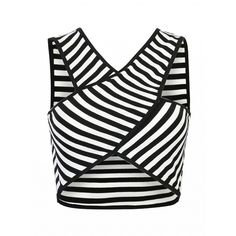 Choies Monochrome Strip Cross Front Crop Top (970 RUB) ❤ liked on Polyvore featuring tops, crop top, white, cross front top, cross front crop top, white crop top and white top