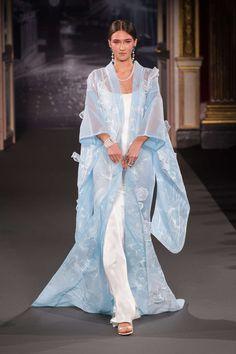 ON SALE Designer Inspired Runway Floral Velvet Kimono in blue