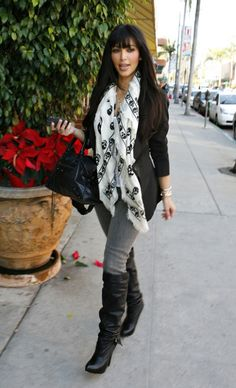 Kim Kardashian wearing Elizabeth And James Charlton Vest And Tail Jacket Balenciaga City Bag In Black Report Signature Mercer boots LnA Layering Tank In White Alexander McQueen Skull Pashmina Siwy Hannah Slim Jeans  Out of a Nail Salon in Beverly Hills December 20 2008