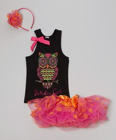This Black & Pink Birthday Owl Tutu Set - Infant, Toddler & Girls by So Girly & Twirly is perfect!