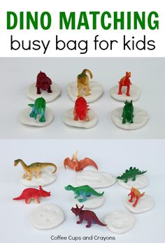 Fun dinosaur fossil matching busy bag for kids! This super simple dinosaur matching busy bag is easy to make and can be played with by all aged kids! Quiet Time Activities, Dinosaur Activities, Dinosaur Crafts, Infant Activities, Dinosaur Play, Indoor Activities, Summer Activities, Family Activities, Preschool Learning