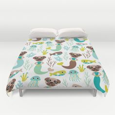 Quirky pugs and mermaids under water world Duvet Cover